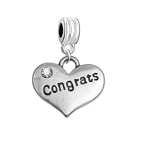SEXY SPARKLES Congrats Heart Charm W/Clear Rhinestones Dangling Spacer European Charm Bracelet and Necklace Compatible