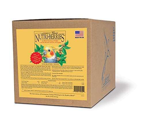 LAFEBER'S Classic Nutri-Berries Pet Bird Food, Made with Non-GMO and Human-Grade Ingredients, for Cockatiels, 20 lbs