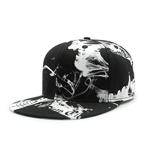 men's Korea hip hop hat/Street dancing flat-brimmed hat/Korean fashion smoke outdoors print baseball cap-D adjustable