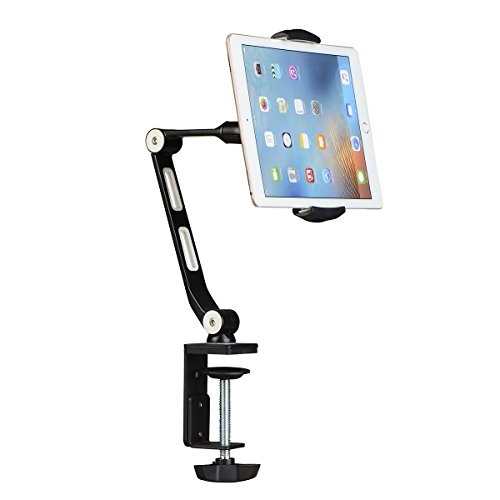 suptek Aluminum Tablet Desk Mount Stand 360° Flexible Cell Phone Holder for iPad - iPhone - Samsung - Asus and More 4.7-11 inch Devices - Good for Bed - Kitchen - Office (YF208B)