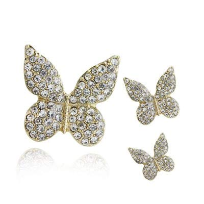 Maslin 5pcs Three-Piece Butterfly Mobile Beauty DIY Pearl faceplate Rhinestone Button Hand Stick Flower Wholesale Jewelry Accessories - (Color: 1)