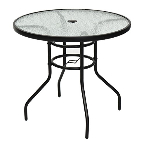 MyEasyShopping 31.5'' Patio Tempered Glass Steel Frame Round Table Glass Table Top Coffee Mid Century Vintage Brass Modern Base Style Regency by MyEasyShopping