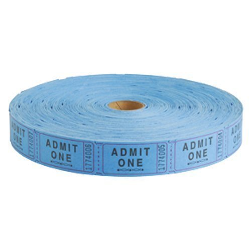 US Toy - Carnival Tickets Roll, Admit 1 Party Accessory, (2000 Tickets) (Blue) (2-Pack) -