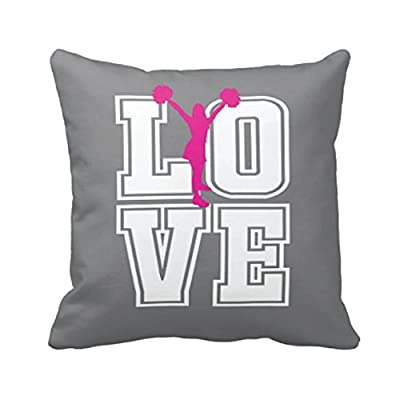 Cheerleader Throw Pillow & Cover, Custom LOVE, Girl Cheer Decor, Black, Red, White or ANY COLOR, 14x14