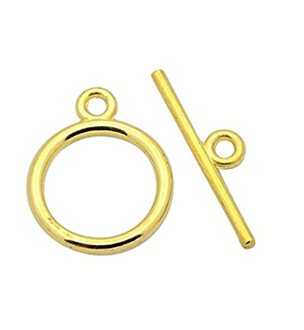 10 Sets x Top Quality Elegant Round Toggle Clasps, 14mm, 14k Gold Plated, CF180 - Garnet Set Brooch