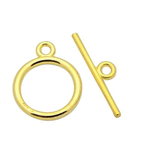 Gold Toggle Jewelry (10 Sets x Top Quality Elegant Round Toggle Clasps, 14mm, 14k Gold Plated, CF180)
