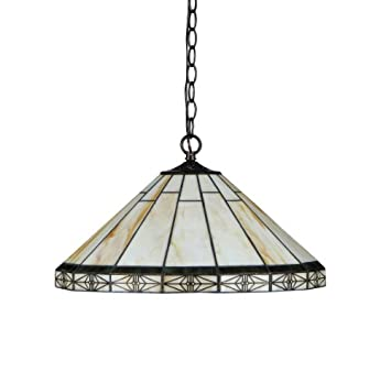 Chloe Lighting CH31315MI18-DH2 Belle Tiffany-Style Mission 2-Light Ceiling Pendant with Shade, 8.7 x 18.1 x 18.1 , Bronze