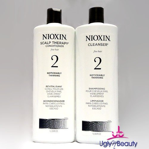Noticeably Thin (Nioxin System 2 Cleanser & Scalp Therapy for Fine Thinning Hair Duo 33.8 oz)