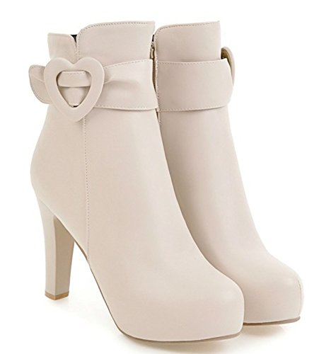 Block Heels Shoes Platform Zip Women's Aisun Graceful Boots Beige Up High EwYq0zEnPa
