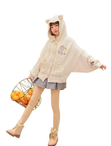 FutaiQjp レディース カーディガン 刺繍 ニット パンダ フォーマルセーター 学生服 セーター 刺繍カーデガン ゆったり 羽織 羽織り カジュアル 手編み 着心地抜群 前開き 長袖