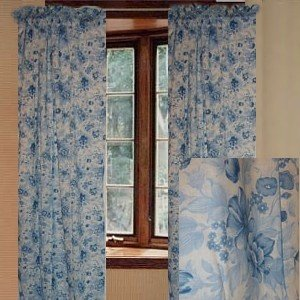 Jcpenney Floral Blue Curtain Set 84l Kitchen Dining