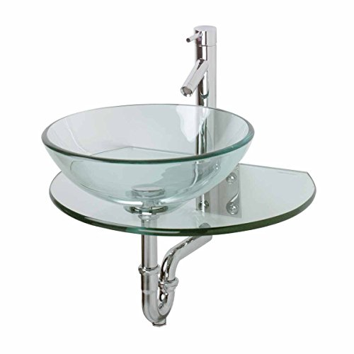 Renovator's Supply 10918 Unique Wall Mount Console Sink Clear Durable Tempered Glass,16.25 inch Diameter 5 inch Depth