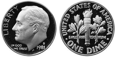 1981 S Proof Roosevelt Type 1 Dime PF1