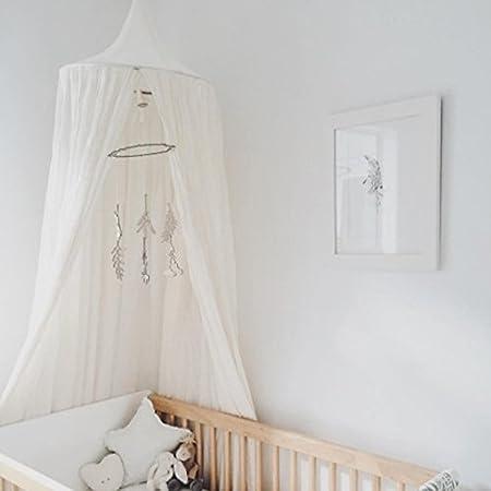 Altura 240cm Canopy de Cama Kids Dome Mosquitero de Algod/ón Tienda de Juego Bueno para Beb/é Interior Exterior Jugar Lectura Dormitorio Blanco