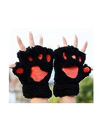 OKDEALS Cute Hand Warmer Mitten Fuzzy Half Finger Gloves Thick Bear's Paw Furry Mitts (black)