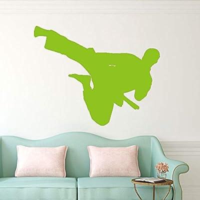 Arte Mural Pegatinas Flying Kick Man Silueta Extraíble Etiqueta de ...
