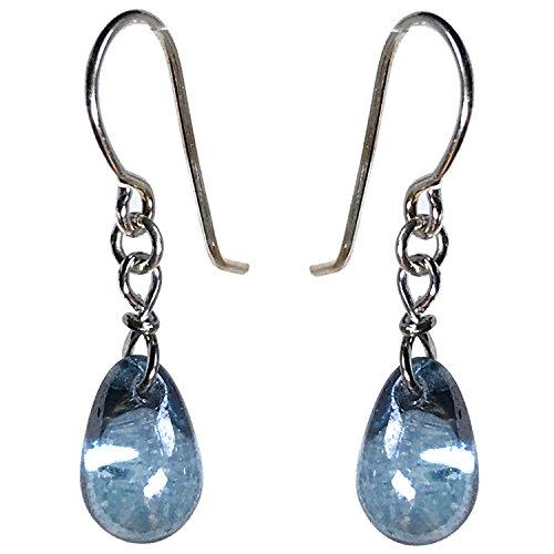 Czech Glass Drop Twisted Clasp Dangle Earrings (Water Blue) -