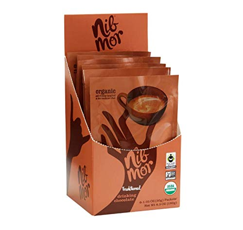 (Nib Mor Organic Hot or Cold Drinking Chocolate Packets - Rich, Delicious Treat - Traditional, 1.05 oz (Pack of)