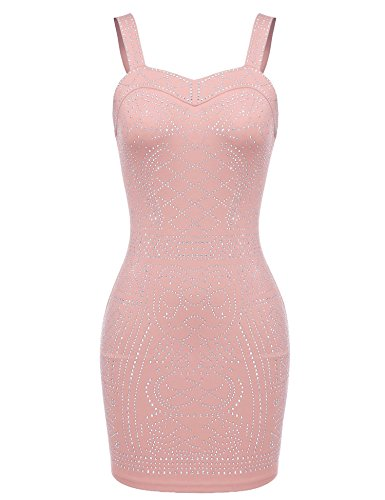 Beyove Women's Sequin Embellished Sleeveless Sexy Club Party Bodycon Strap Mini Dress,(Pink S)