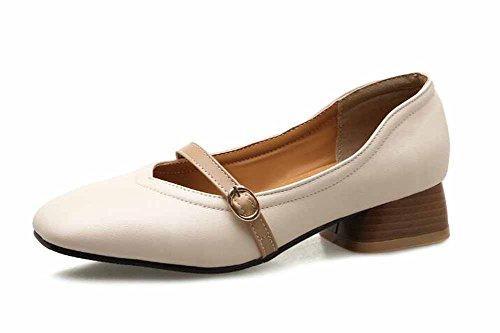 2018 Mary Casual Grande Mujer Primavera Moda Nuevo Tamaño Jane Sandalias Beige Zapatos Bajo Talón qgt6ffw