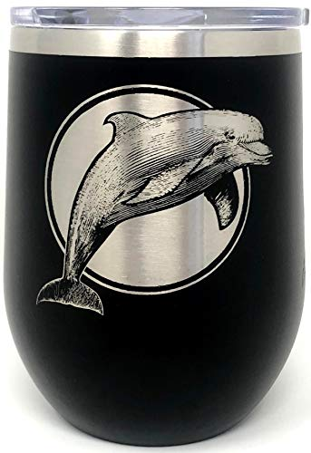 (Doodle Gifts Double Wall Insulated Black 12 oz Wine Tumbler, Dolphin,)