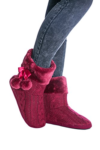 Airee Fairee Slippers Women Ladies Indoor Slipper Boots with Knitted Upper and Pom Poms Burgundy vO50tQ6wz