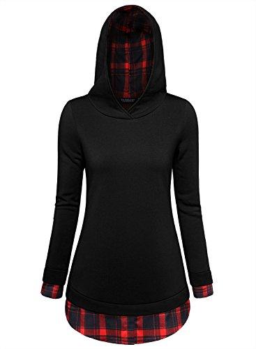EA Selection-Sudadera Top para Mujer Detalle Estampado de Cuadros Negro-Rojo