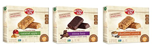 Enjoy Life Baked Chewy Bars, Gluten-Free, Non-GMO, Dairy-Free, Nut-Free + Soy-Free, Variety Pack, 5 Count Bar/5.75 Ounce Box, (Pack of (Cocoa Loco Snack)