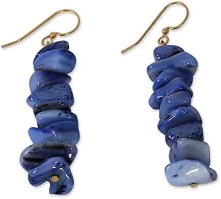 NOVICA Agate Brass Beaded Earrings 'Bluebird'