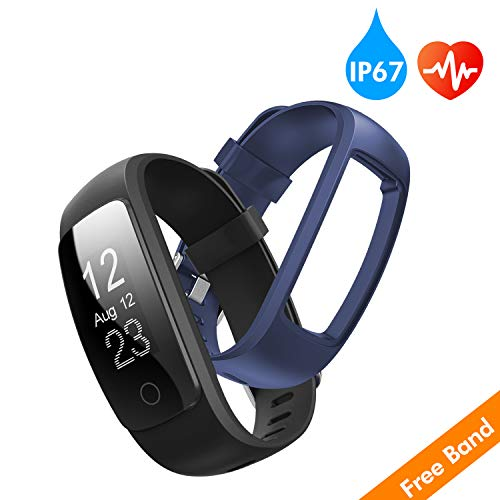 (runme Fitness Tracker with Heart Rate Monitor, Activity Tracker Smart Watch with Sleep Monitor, IP67 Water Resistant Walking Pedometer with Call/SMS Remind for iOS/Android (Black+Blue))