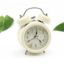 Mynse 4 Creative Idyllic and Modern Style Small Table Clock with Night Light Metal Bell Clock Alarm Clock Beige