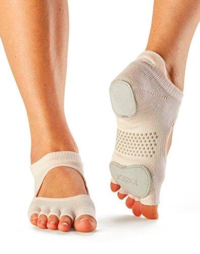 ToeSox Women's Prima Bellarina Half Toe Grip Socks (Sweet Pea) X-Small