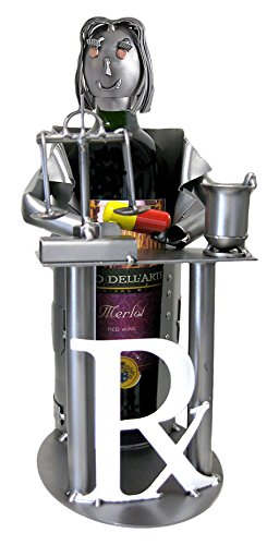 H & K Sculptures Female Pharmacist Wine Bottle Holder/Wine Caddy, , (Female Wine Bottle Holder)