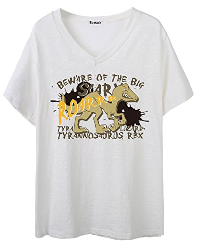 So'each Women's Dinosaur Letters Graphic V-Neck Tee T-shirt Ladies Casual Top