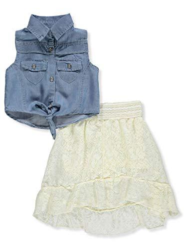 dollhouse Baby Girls' 2-Piece Skirt Set Outfit - Blue/Cream, 18 Months ()