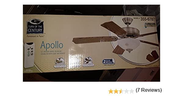 Turn of the century apollo 52 white ceiling fan amazon mozeypictures Image collections