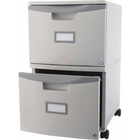 Storex 2-Drawer Mobile File Cabinet With Lock and Casters, Legal/Letter - Gray/Gray