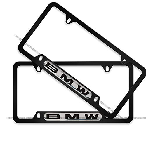 2-Pieces Silver Background License Plate Frame for BMW, Sturdy and Quality BMW License Plate Cover