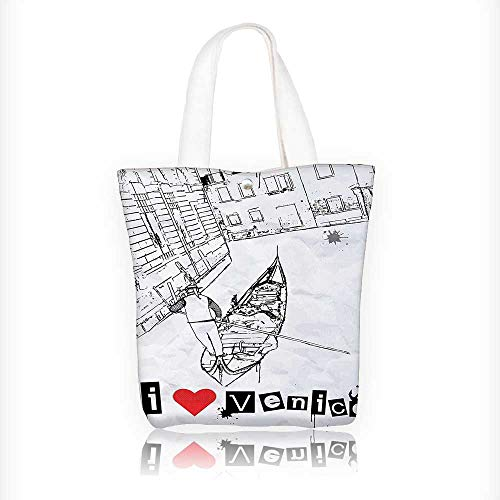Canvas Tote Bag Silhouette on Venetian Canal with I Love Venice Frame Illustration Red Black White Hanbag Women Shoulder Bag Fashion Tote Bag W16.5xH14xD7 INCH