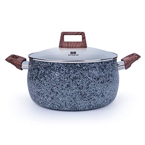 Pot Non Stick Maifan Stone Soup with Glass Lids Kitchen Cookware,Saucepan Frying Pan - Wooden Anti-scalding Handle, Grey Granite - Grey Granite Finish