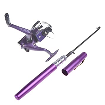 Docooler Canne à Pêche +Reel Pocket Pen Mini Aluminium pour les Amateurs de Pêche