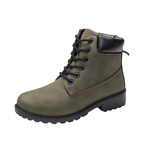 IGEMY Women Ladies Faux Boots Ankle Boots Casual Martin Shoes Green
