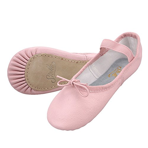 STELLE Girls Premium Leather Ballet Shoes Slippers for Kids Toddler (8MT, 1-Strap) -