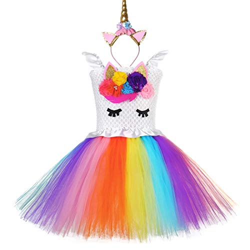 Rainbow Unicorn Tutu Dress for Girls Kids Birthday Party Halloween Costume Outfit ... -