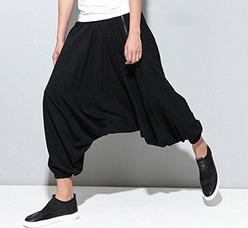 Big Sarouel Hippie Pantalon Ellazhu Crotch Dance Noir A Homme Zipper Gym100 gWcnWIr