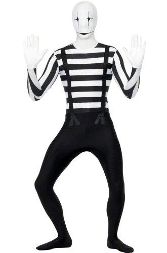 Smiffy's Mime Second Skin Costume, Black/White, (Mime Costume Mens)
