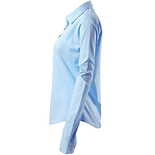 Fly Lunga Casual Da Camicia Manica Bottoni Cotone Slim lavoro Chiusura Blu2 Dritto colloquio Shirt Hawk Ideale Colletto Elegante Per Con In Donna Camicetta Ufficio Basic Formale Blusa r8Aqwrnxv