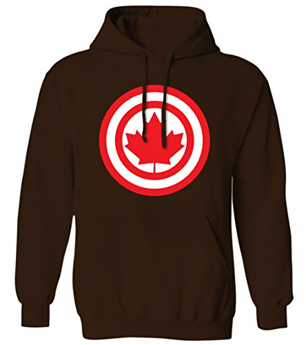 Canadian Maple Leaf - Canada Pride Badge Seal Mens Hoodie Sweatshirt (BROWN, 2X-Large)