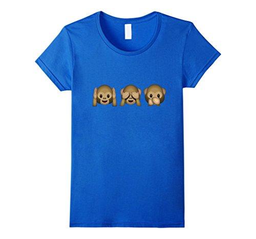 Womens See No Evil Hear No Evil Speak No Evil Monkey Emoji T Shirt Small Royal Blue