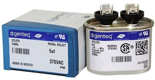 Motor Run - GENTEQ  27L570  Film Capacitor, Motor Run, 5 uF, PP (Polypropylene), 370 VAC, 27L Series